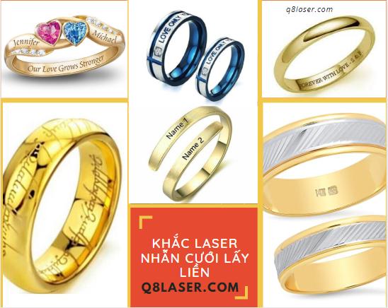 Khắc laser nhẫn cưới lấy liền