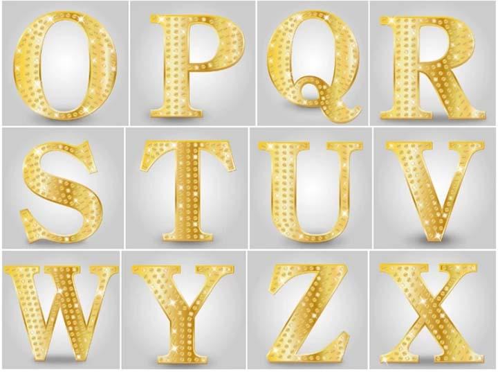 Cắt chữ kim loại vàng